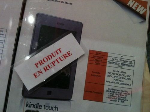 Kindle Touch en rupture de stock