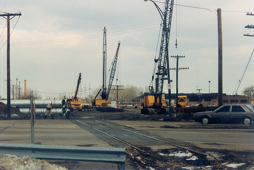 Construction of the CTA orange line rapid transit to Midway Airport.  Chicago Illinois.  Early March 1989. by Eddie from Chicago