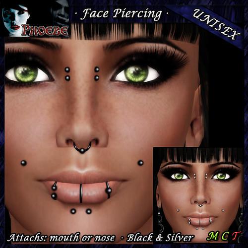 $55l ~ *P* Unisex Face Piercing ~ Serie K2 ~ Black & Silver