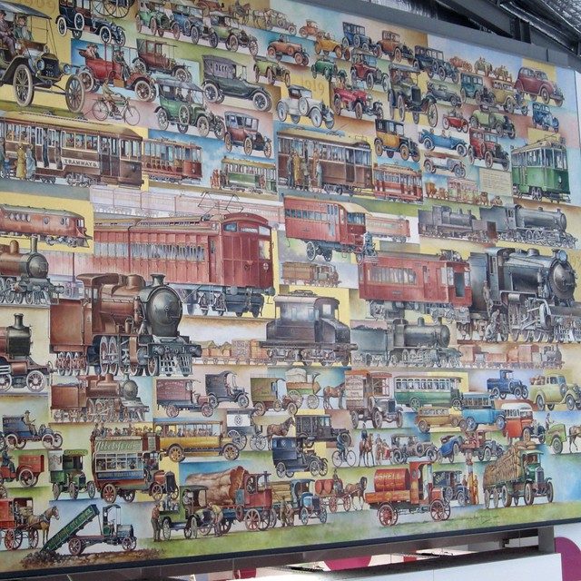 "Transport mural in ""Spencer Street"" shopping centre at Southern Cross Station"