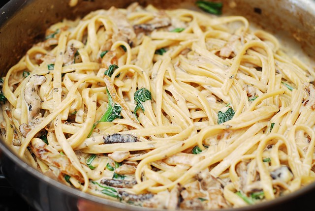 cooking and adding pasta
