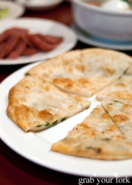 shallot pancakes at poplar central asian cuisine crows nest