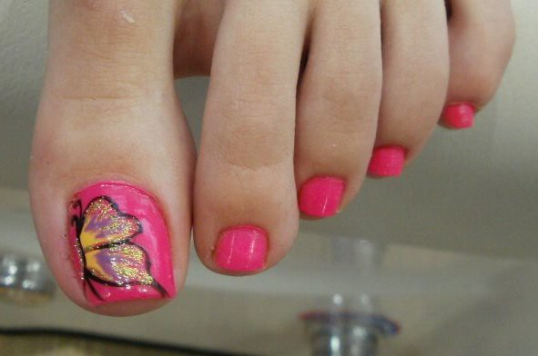 cute butterfly pink toenails | Flickr - Photo Sharing!