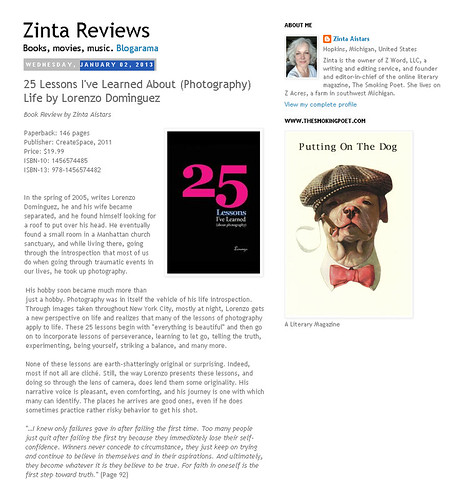 Zinta Reviews 25 Lessons Jan 2013
