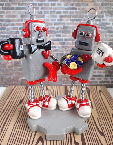 Custom Robot Wedding Cake Topper: Silver and Red with mugs delightfully unusual by HerArtSheLoves