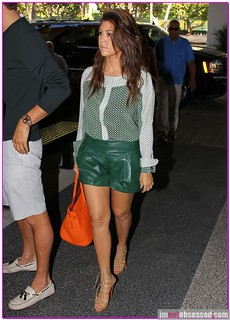Kourtney Kardashian Leather Shorts Celebrity Style Women's Fashion