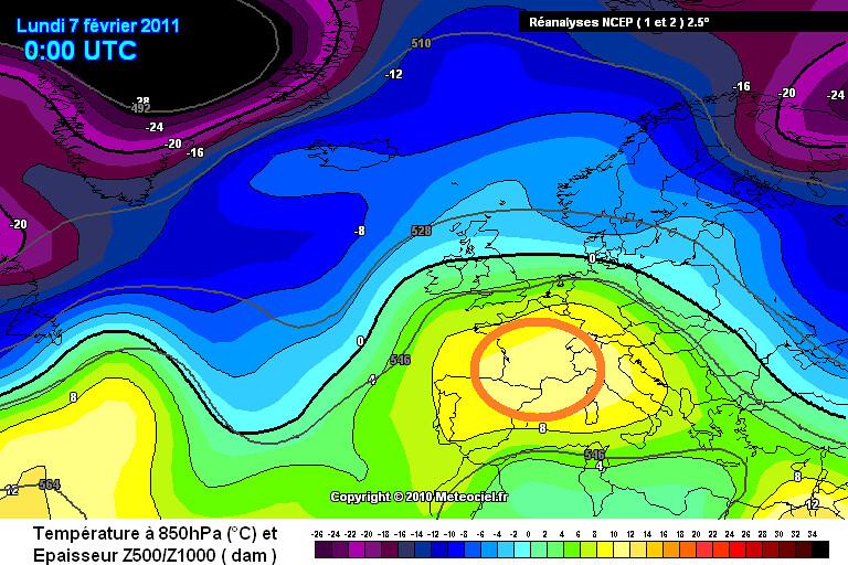 carte des masses d'air lors de la journée contrastée du 7 février 2011 météopassion