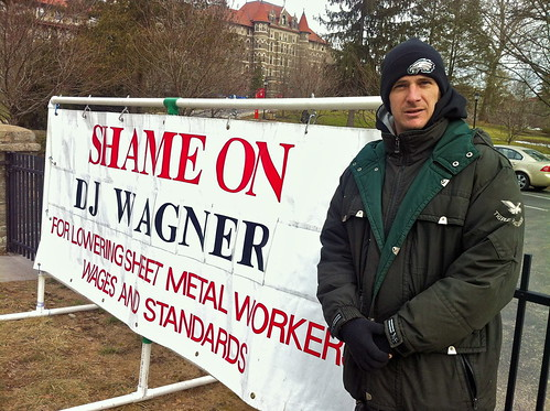 Sheet Metal Union pickets Chestnut Hill College