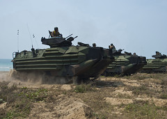 Amphibious assault vehicles assigned to the 31st Marine Expeditionary Unit (MEU) line up on the beach at Hat Yao, Feb. 14, as part of the simulated beach assault portion of exercise Cobra Gold in Thailand. (U. S. Navy photo by Mass Communication Specialist 3rd Class Amanda S. Kitchner)