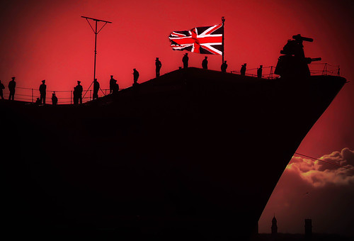 Silhouetted Sailors aboard HMS Illustrious. Docked at Liverpool. Explored #69. 16-2-13