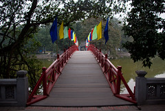The Huc Bridge to Jade Island on Hoan Kiem Lake - Hanoi, Vietnam
