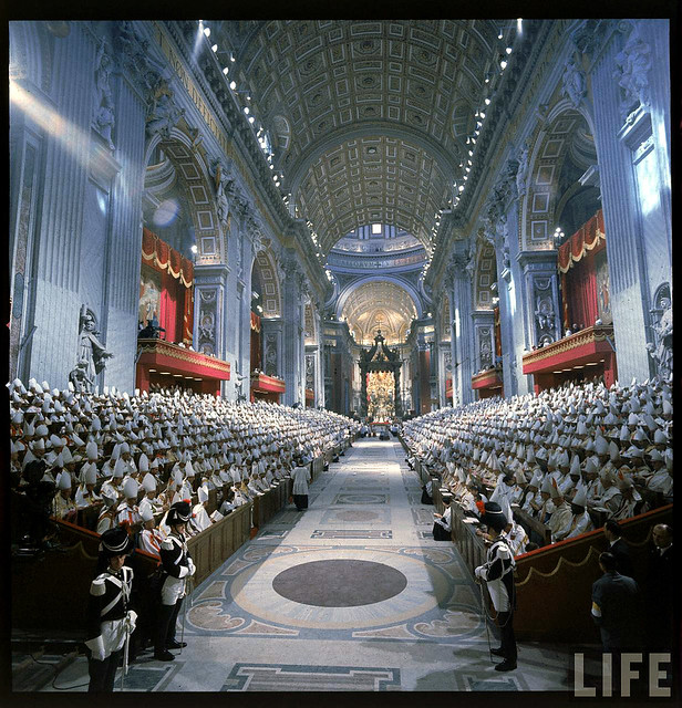 Rome 11 Oct 1962 - Panorama inside St. Peter's Basilica during the 2nd Vatican Ecumenical Council of the Roman Catholic Church