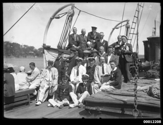 Crew and officials onboard a spectator vessel, possibly NEWCASTLE, during the Pittwater Regatta