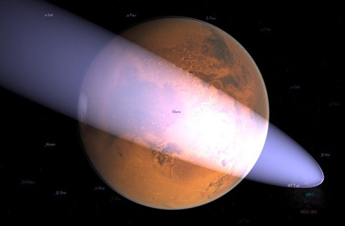 Simulation of the close approach of C/2013 A1 to Mars in Celestia using the latest MPC elements