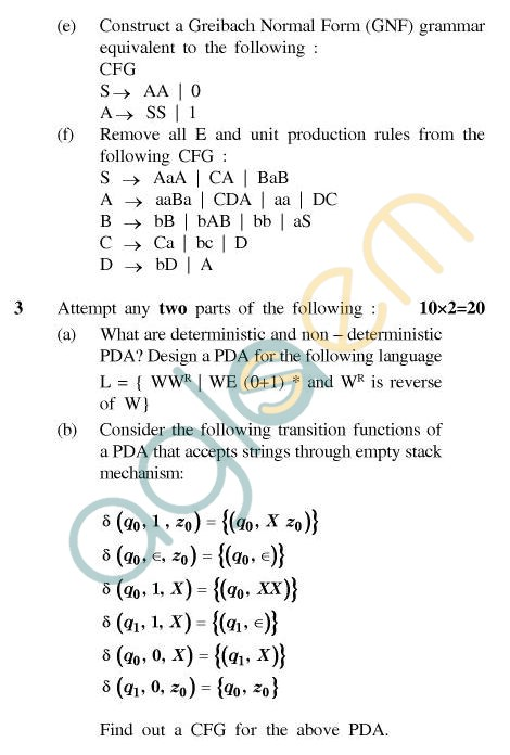 UPTU MCA Question Papers - MCA-244(3) - Theory of Formal Languages & Automata