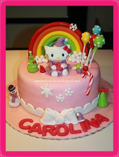 Bolo Hello Kitty lilás arco íris by Osbolosdasmanas