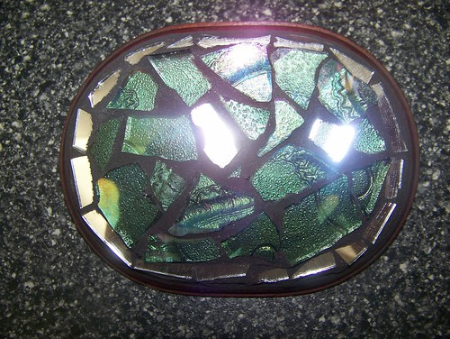 letter founder - green oval mirror mosaic by jim leftwich