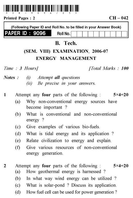 UPTU B.Tech Question Papers - CH-042 - Energy Management
