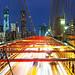 Brooklyn Bridge panorama with traffic by Dibrova