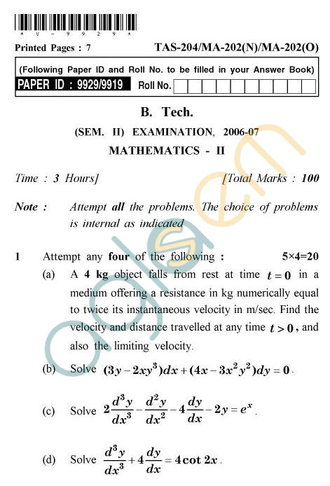 UPTU B.Tech Question Papers -TAS-204/MA-202(N)/MA-202(O) - Mathematics-II