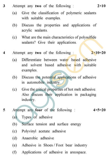 UPTU B.Tech Question Papers - PL-021 - Adhesives & Sealants
