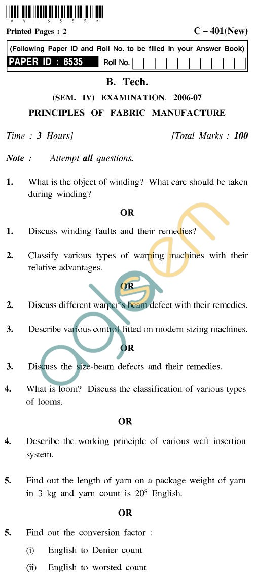UPTU B.Tech Question Papers - C-401(New) - Principles of Fabric Manufacture