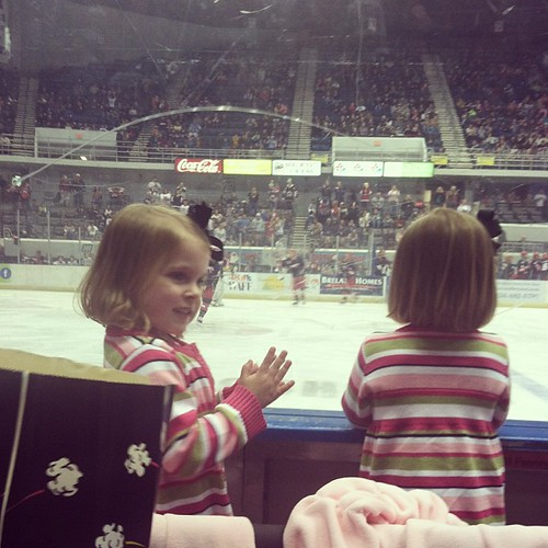Girls' first hockey game!