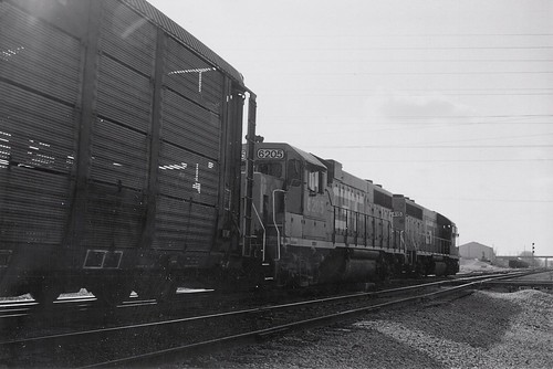 Northbound Grand Trunk Western Railroad auto rack train.  Mc Cook Illinois.  May 1989. by Eddie from Chicago