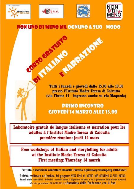Laboratorio gratuito di italiano e narrazione rivolto a donne e uomini stranieri