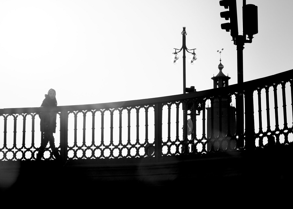 On A Sunlit Stage street photography, black and white