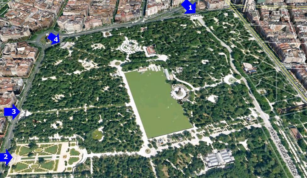 Vier van de vele Puertas van het Parque del Retiro