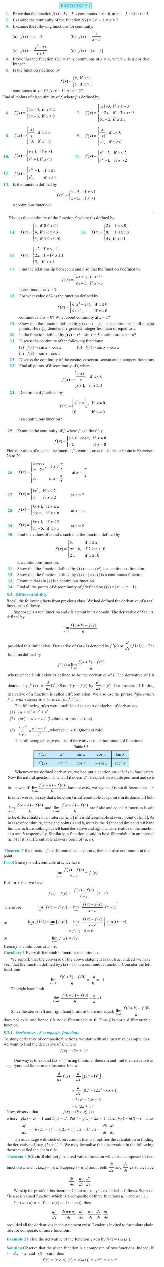 NCERT Class XII Maths Chapter 5 - Continuity and Differentiability