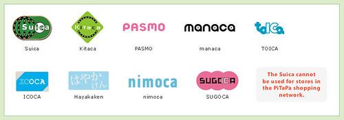 Screenshot of Japan rail and subway e-money card logos
