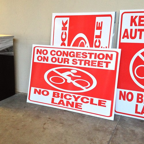 More anti- #bikela signs at Colorado bike lane town hall. #fig4all