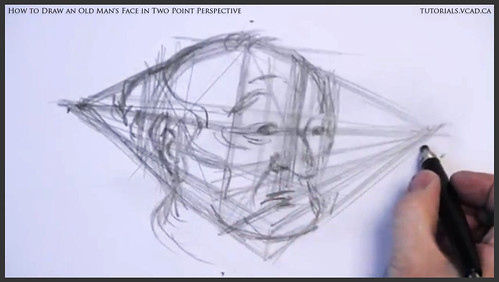 learn how to draw an old man's face in two point perspective 011