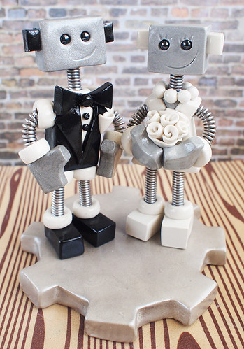 Robot Wedding Cake Topper | Eyelashes and Cheeky Grins by HerArtSheLoves