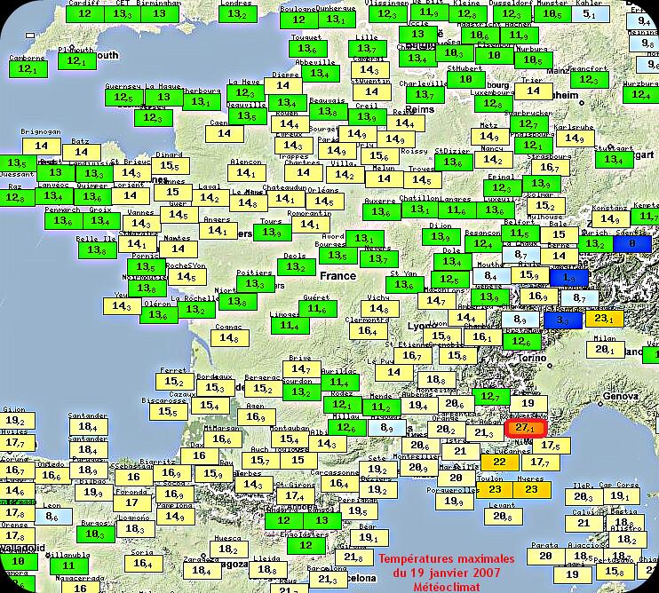 températures maximales et records mensuesl de chaleur dans le Sud-Est le 19 janvier 2007 météopassion