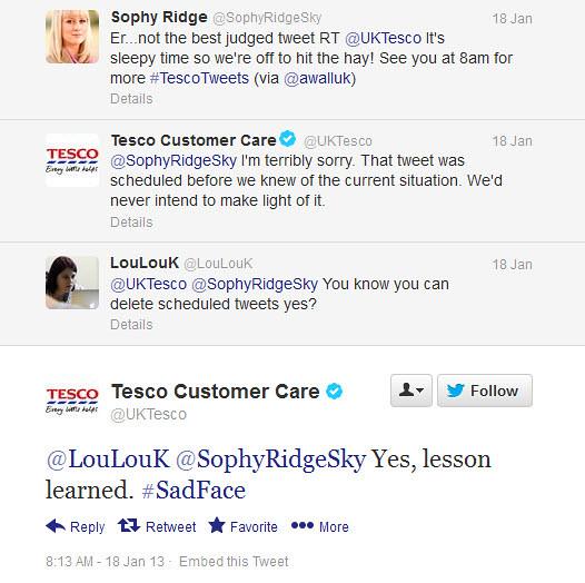 Tesco UK Twitter - scheduled Tweet apology