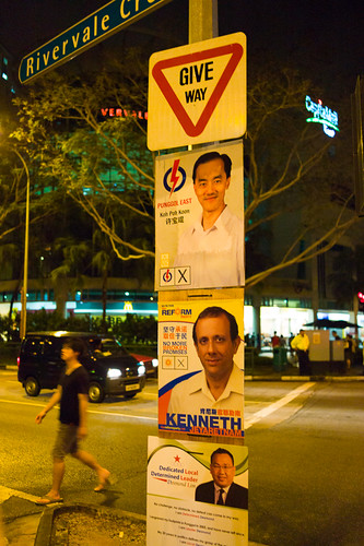"Does this mean these 3 candidates in the 4-corner fight should ""Give Way"" to WP's Lee Li Lian? A lesson in placement of signs...."