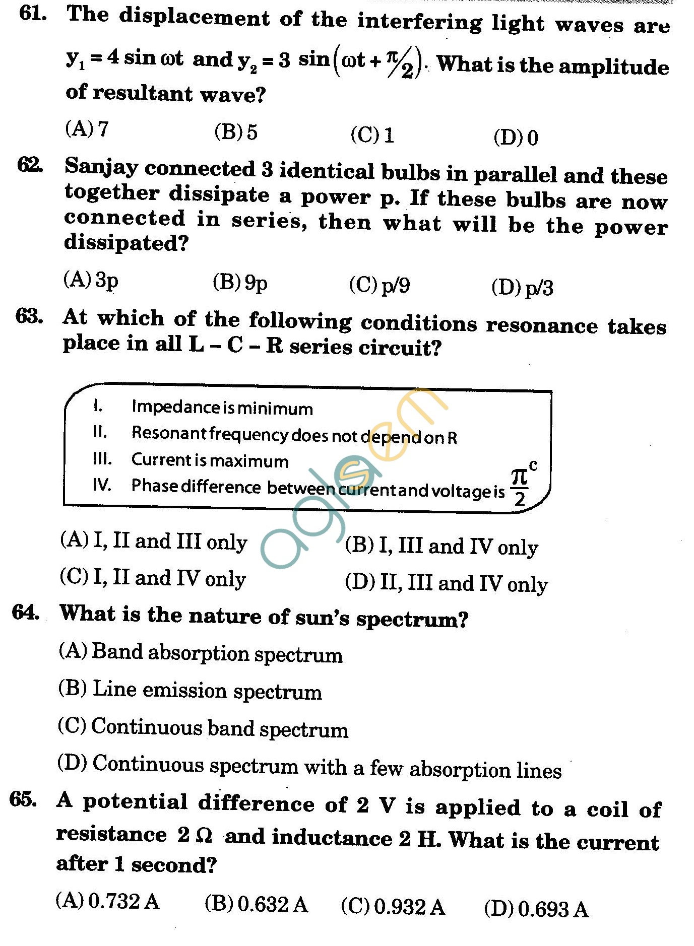 NSTSE 2010 Class XII PCM Question Paper with Answers - Physics