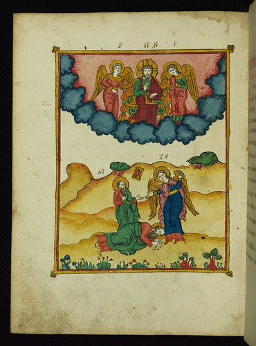 Apocalypse with Patristic commentary, St. John falls to the ground before the angel of his vision, Walters Manuscript W.917, fol. 225v by Walters Art Museum Illuminated Manuscripts