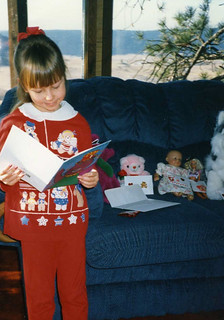 Christina, almost 5, reading her valentine cards  - Valentine's Day 1995