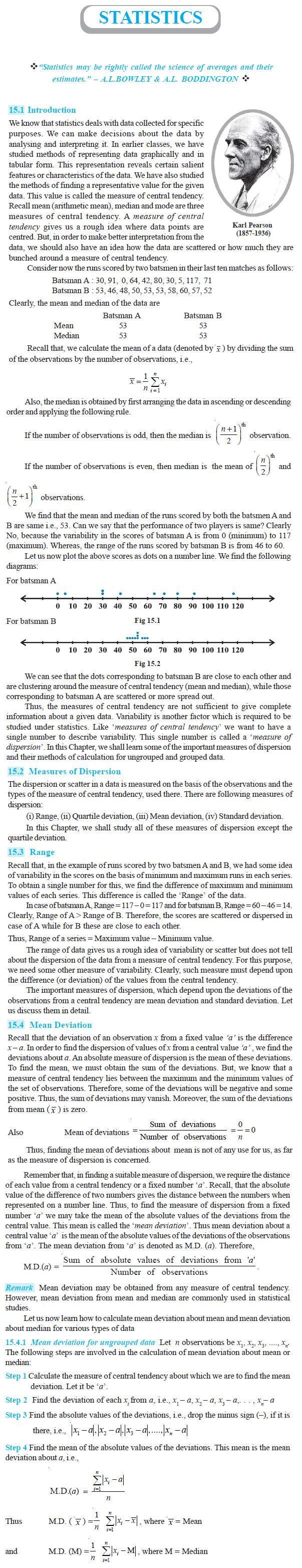 NCERT Class XI Mathematics Chapter 15 – Statistics