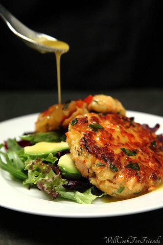 Salmon Cakes with Honey Mustard Vinaigrette, 2