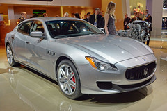 performance car(0.0), maserati granturismo(0.0), sports car(0.0), automobile(1.0), automotive exterior(1.0), maserati(1.0), wheel(1.0), vehicle(1.0), automotive design(1.0), maserati quattroporte(1.0), auto show(1.0), bumper(1.0), sedan(1.0), personal luxury car(1.0), land vehicle(1.0), luxury vehicle(1.0), supercar(1.0),