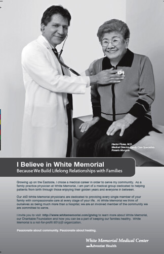 White Memorial Medical Center magazine ads