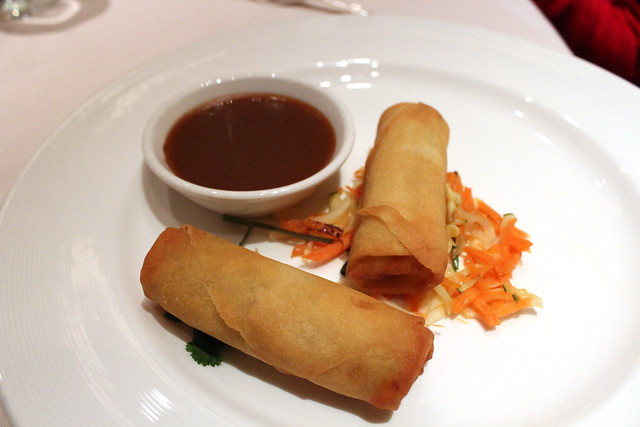 Crispy Hand-Rolled Vegetable Spring Rolls with hoisin-peanut dip, lemongrass and cilantro