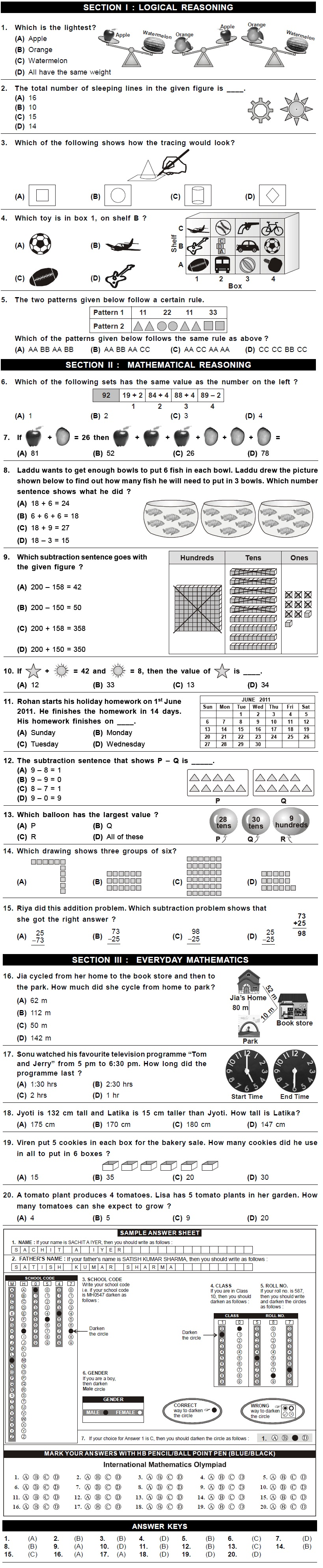 Worksheet 2nd Standard Maths 8th imo sample papers for class 2 2nd level exam 2015 2