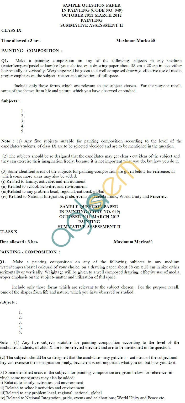 CBSE Class IX & X Sample Papers 2014 (Second Term) Painting