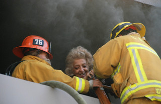 Pair Saved, Woman Hospitalized in Valley Village Apartment Blaze. © Photo by Mike Meadows. Click to view more...